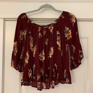 Staccato on or off the shoulder maroon top